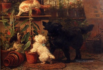 Henriette Canvas - In The Greenhouse animal cat Henriette Ronner Knip