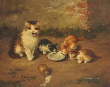 KITTENS PAINTING Alfred Brunel de Neuville Oil Paintings