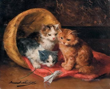 Kittens Alfred Brunel de Neuville Oil Paintings