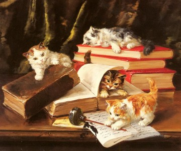 Kittens Playing on a Desk Alfred Brunel de Neuville Oil Paintings