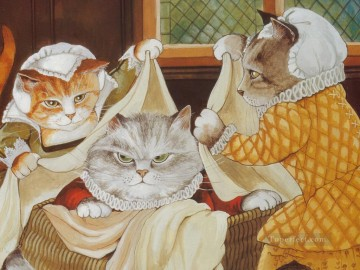 cat cats Painting - Shakespeare Cats Susan Herbert