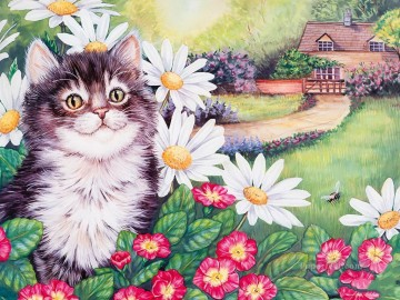 Cat Painting - Spring cat Maday Jane
