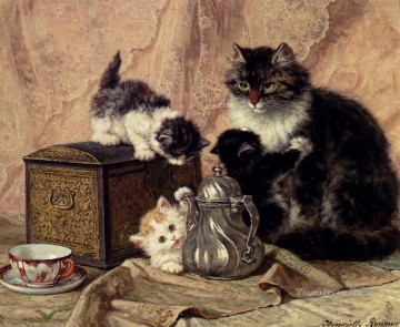 Cat Painting - Teatime For Kittens animal cat Henriette Ronner Knip