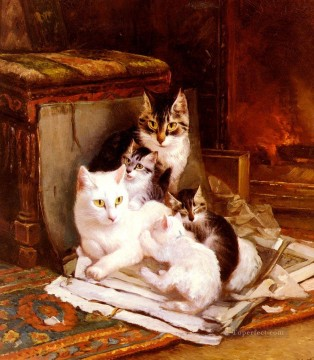 Animal Painting - The Happy Litter animal cat Henriette Ronner Knip