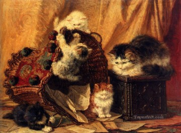 Cat Painting - The Turned Over Waste paper Basket animal cat Henriette Ronner Knip