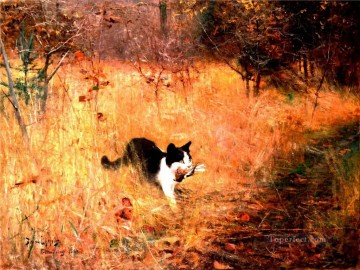 cat caught a bird Oil Paintings
