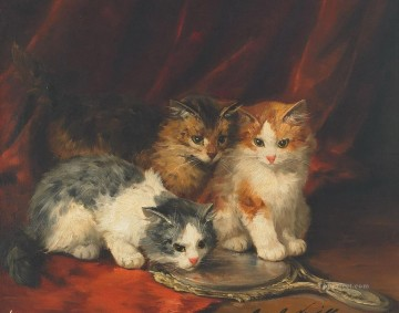 cat painting 9 Alfred Brunel de Neuville Oil Paintings