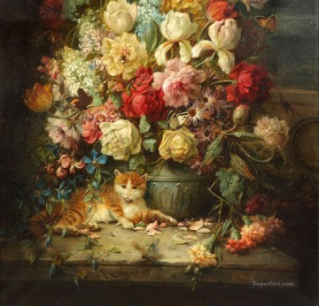 Cat Painting - cat under flowers Hans Zatzka