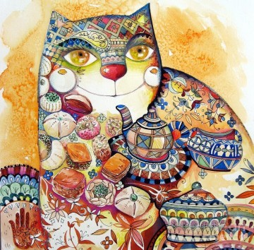 Cat Painting - decor cat modern