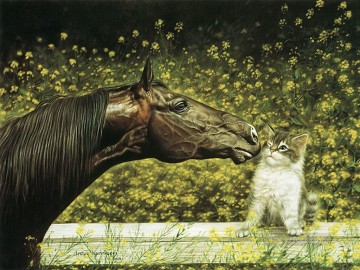 Cat Painting - horse and cat