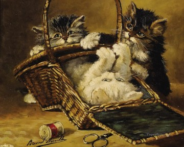 Cat Painting - kittens in a basket Alfred Brunel de Neuville