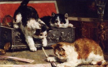 kittens with box Alfred Brunel de Neuville Oil Paintings