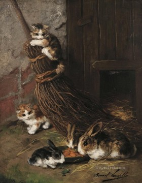 Rabbit Painting - Kittens at Play with Rabbits at Feed Alfred Brunel de Neuville