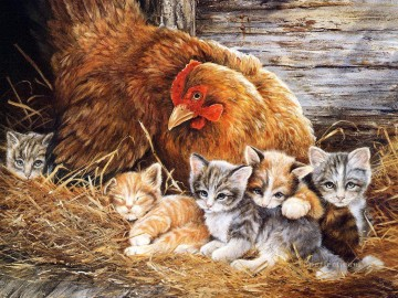Cat Painting - hen and kittens