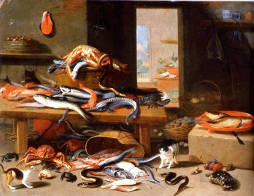 Cat Painting - cat and so many fishes