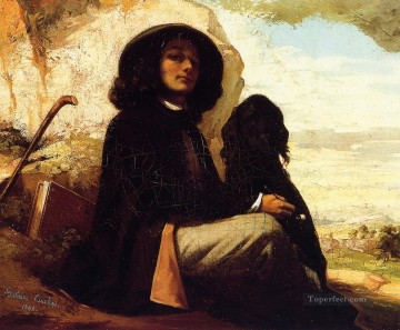 Dog Painting - Self Portrait with a Black Dog Realist Realism painter Gustave Courbet