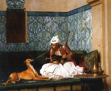 Dog Painting - Arnaut blowing Smoke at the Nose of his Dog Greek Arabian Orientalism Jean Leon Gerome