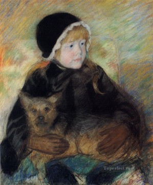 Elsie Cassatt Holding a Big Dog impressionism mothers children Mary Cassatt Oil Paintings
