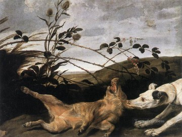Greyhound Catching A Young Wild Boar Frans Snyders dog Oil Paintings