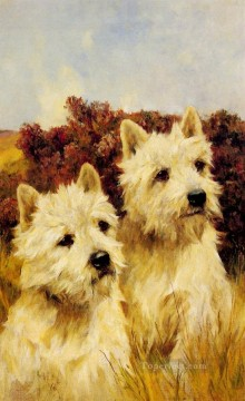 Jacque And Jean Champion Westhighland White Terriers animal Arthur Wardle dog Oil Paintings