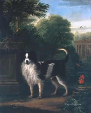 Muff a Black and White Dog Oil Paintings