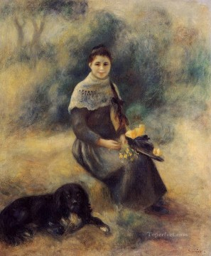 Animal Painting - Pierre Auguste Renoir Young Girl with a Dog