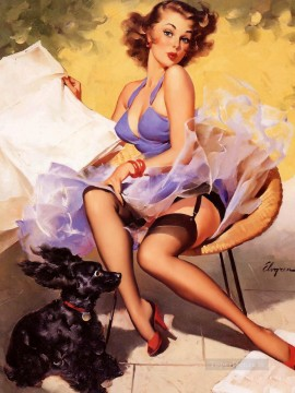 Pin ups with stockings puppy Oil Paintings