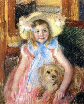 Dog Painting - Sara in a Large Flowered Hat Looking Right Holding Her Dog impressionism mothers children Mary Cassatt