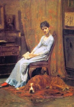 Artists Oil Painting - The Artists Wife and his setter Dog Realism portraits Thomas Eakins