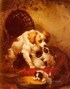 Dog Painting - The Happy Family animal dog Henriette Ronner Knip