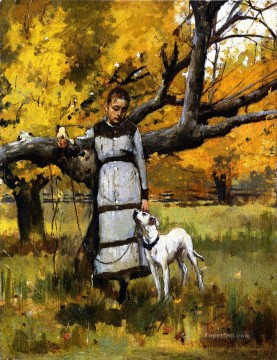 Animal Painting - Theodore Robinson Young Girl with Dog
