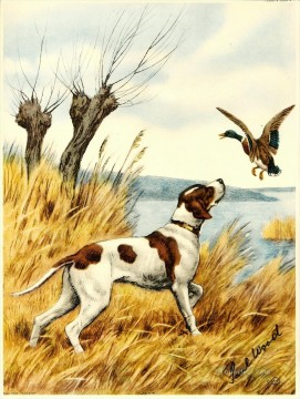 Dog Painting - Wild Duck Wood Only puppy