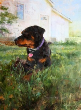 Animal Painting - dog near house