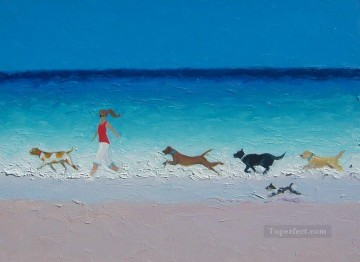 dogs playing poker Painting - girl with running dogs at beach