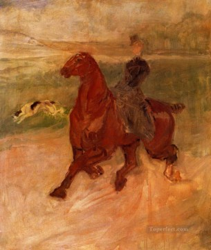 Animal Painting - henri de toulouse lautrec horsewoman and dog