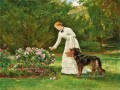 picking flowers Heywood Hardy dog