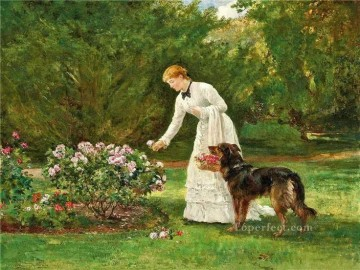 Animal Painting - picking flowers Heywood Hardy dog