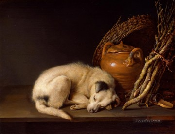 Animal Painting - sleeping dog and a jar