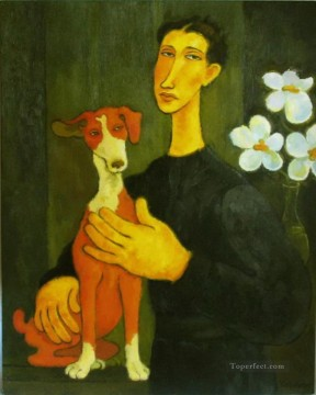 Animal Painting - woman with dog and flowers
