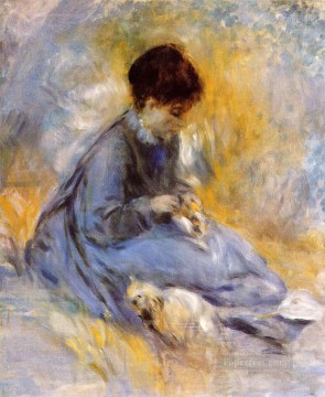 Dog Painting - young woman with a dog Pierre Auguste Renoir