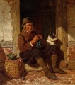 A Man Seated in a Doorway Knitting with His Dog