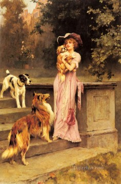 Afternoon Promenade animal Arthur Wardle dog Oil Paintings