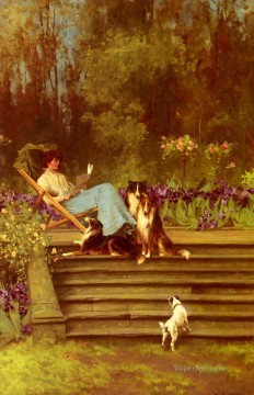 Among Friends animal Arthur Wardle dog Oil Paintings