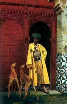 Dog Painting - An Arab and his Dog Greek Arabian Orientalism Jean Leon Gerome