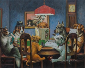 Dogs Playing Chess Oil Paintings