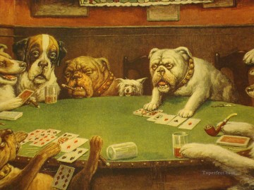 Dogs Playing Poker yellow Oil Paintings