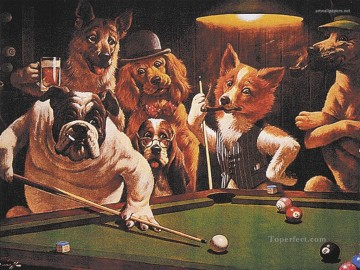 Animal Painting - Dogs Playing Snooker