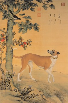 Animal Painting - Lang shining yellow dog old China ink Giuseppe Castiglione dog