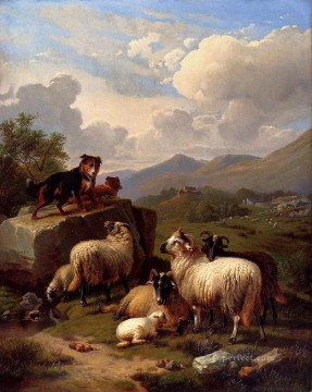 On The Lookout Eugene Verboeckhoven animal sheep dog Oil Paintings