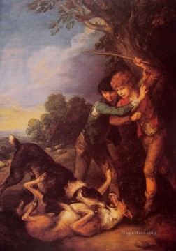 dog dogs Painting - Shepherd Boys with Dogs Fighting Thomas Gainsborough